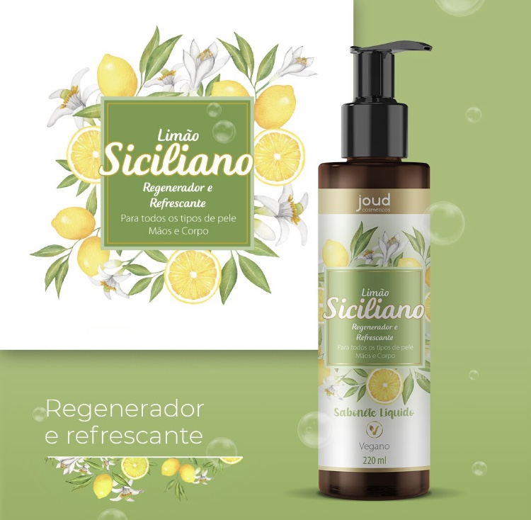 Sabonete Liquído Joud Mãos e  Corpo Limão Siciliano 220Ml