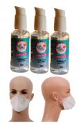 Kit 3 Frascos Álcool Gel 70% 100 ml + 20 Máscaras Descartáveis em TNT Dupla Camada