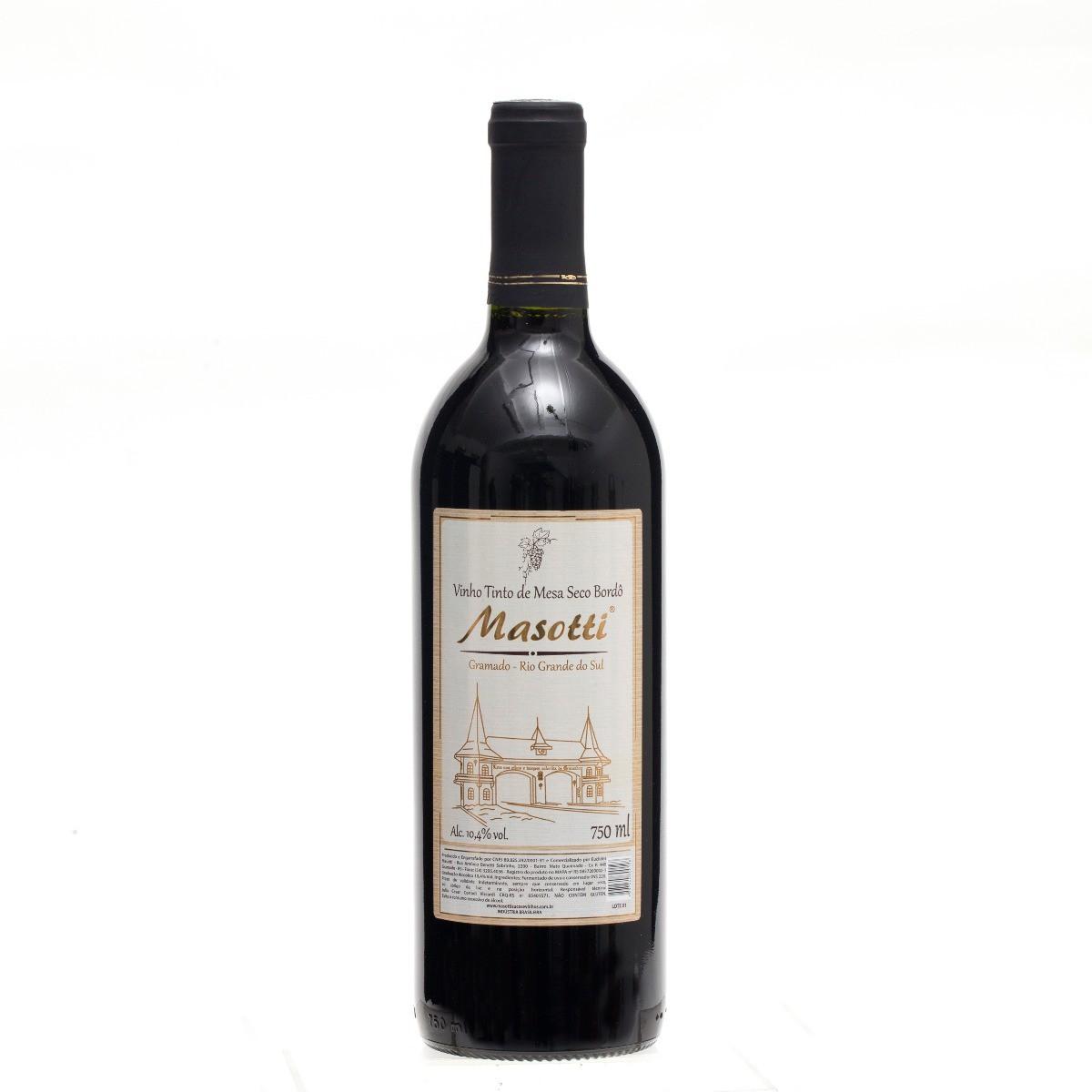 Vinho Tinto de Mesa Seco Bordô - Masotti 750 ML