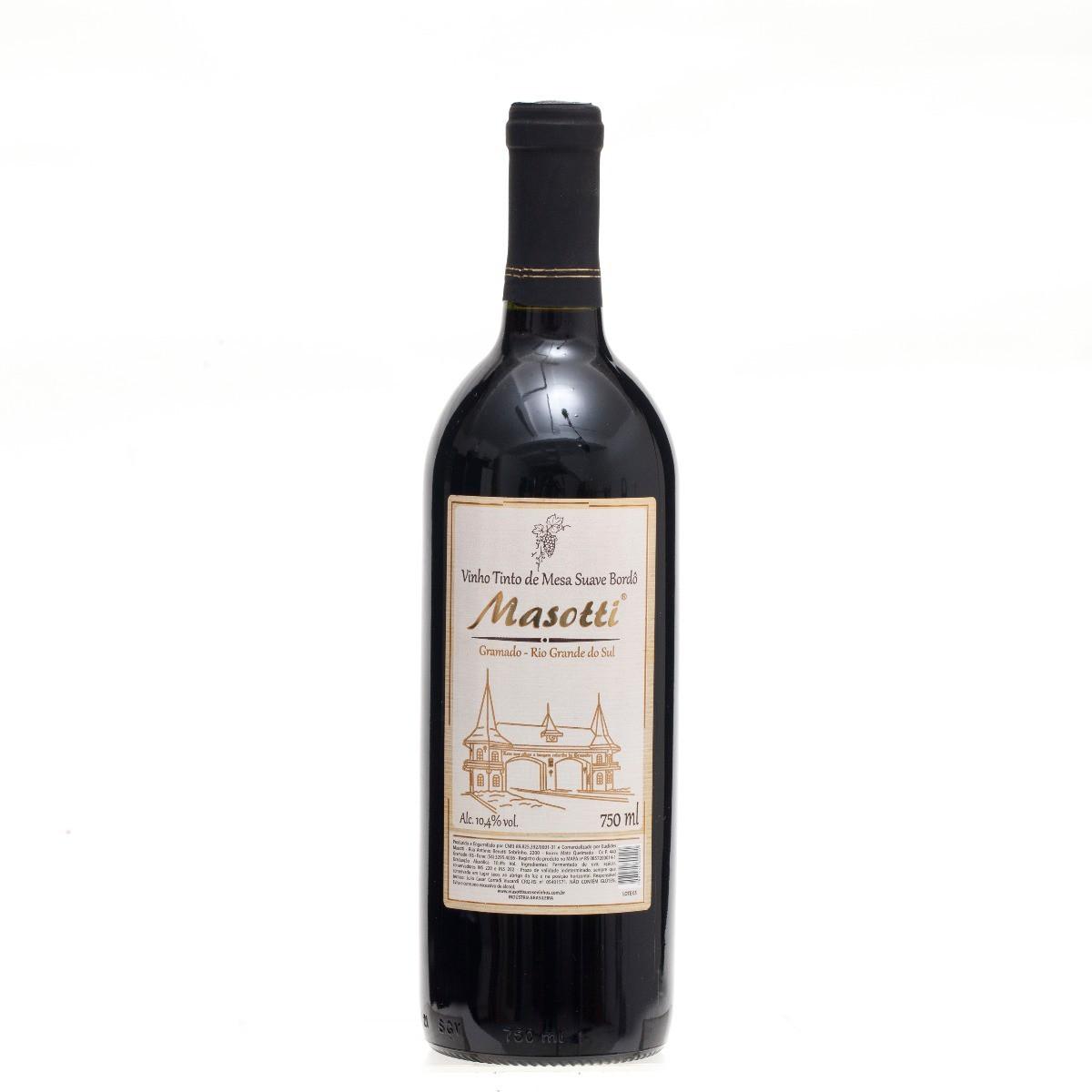 Vinho Tinto de Mesa Suave Bordô - Masotti 750 ML