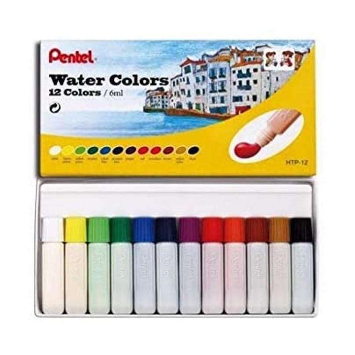 Aquarela a Base de Água em Tubo Pentel - 12 cores