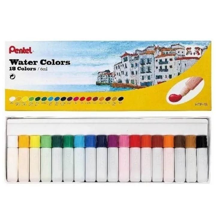 Aquarela a Base de Água em Tubo Pentel - 18 cores