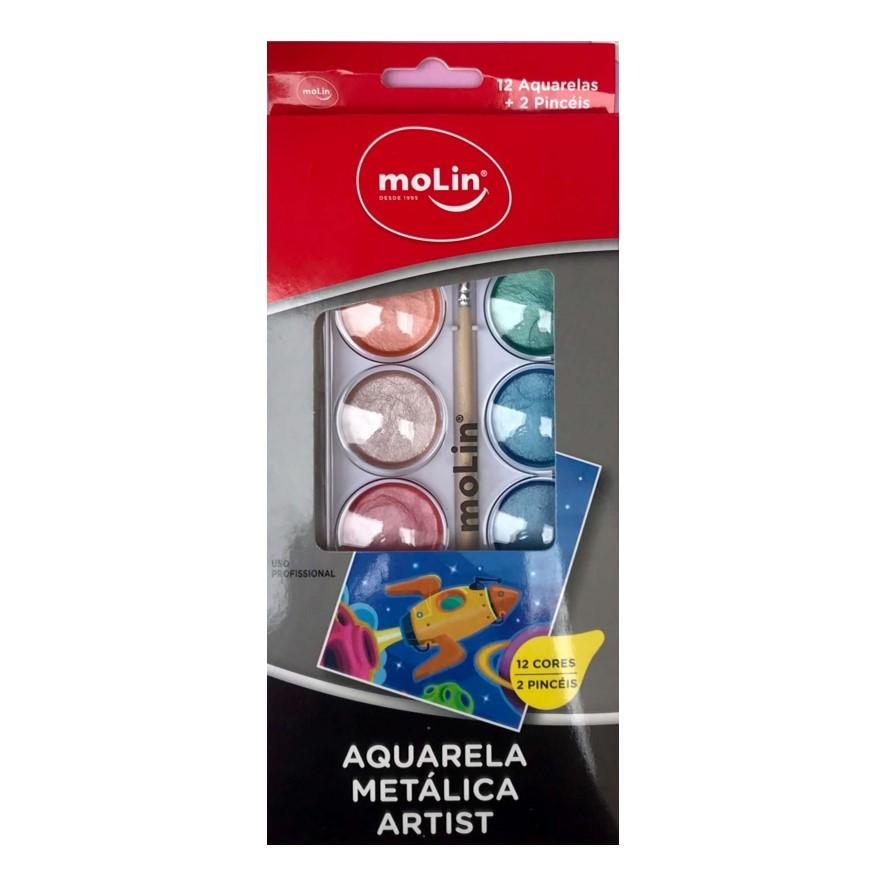 Aquarela Metálica Molin - Estojo com 12 cores + pincel