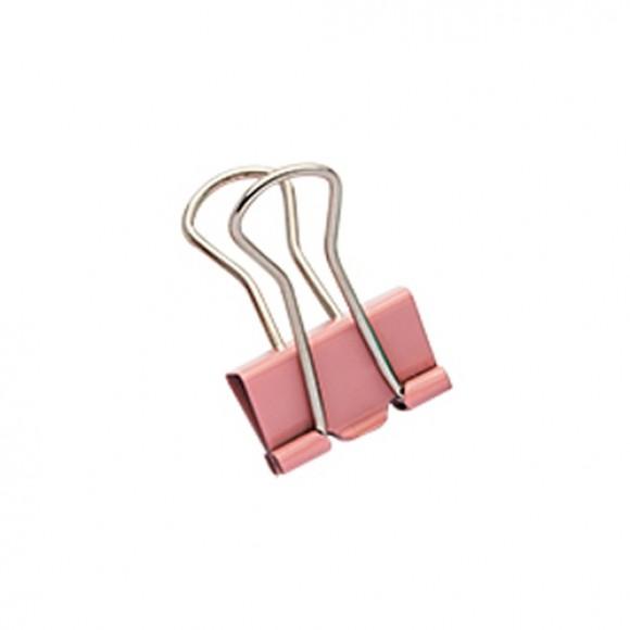 Binder Clips médio - 12 unidades - Rosa