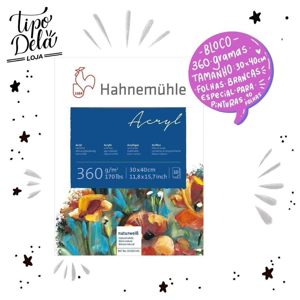 Bloco Acryl Paper Hahnemühle - 360g/m², 24cmX32cm, 10 folhas