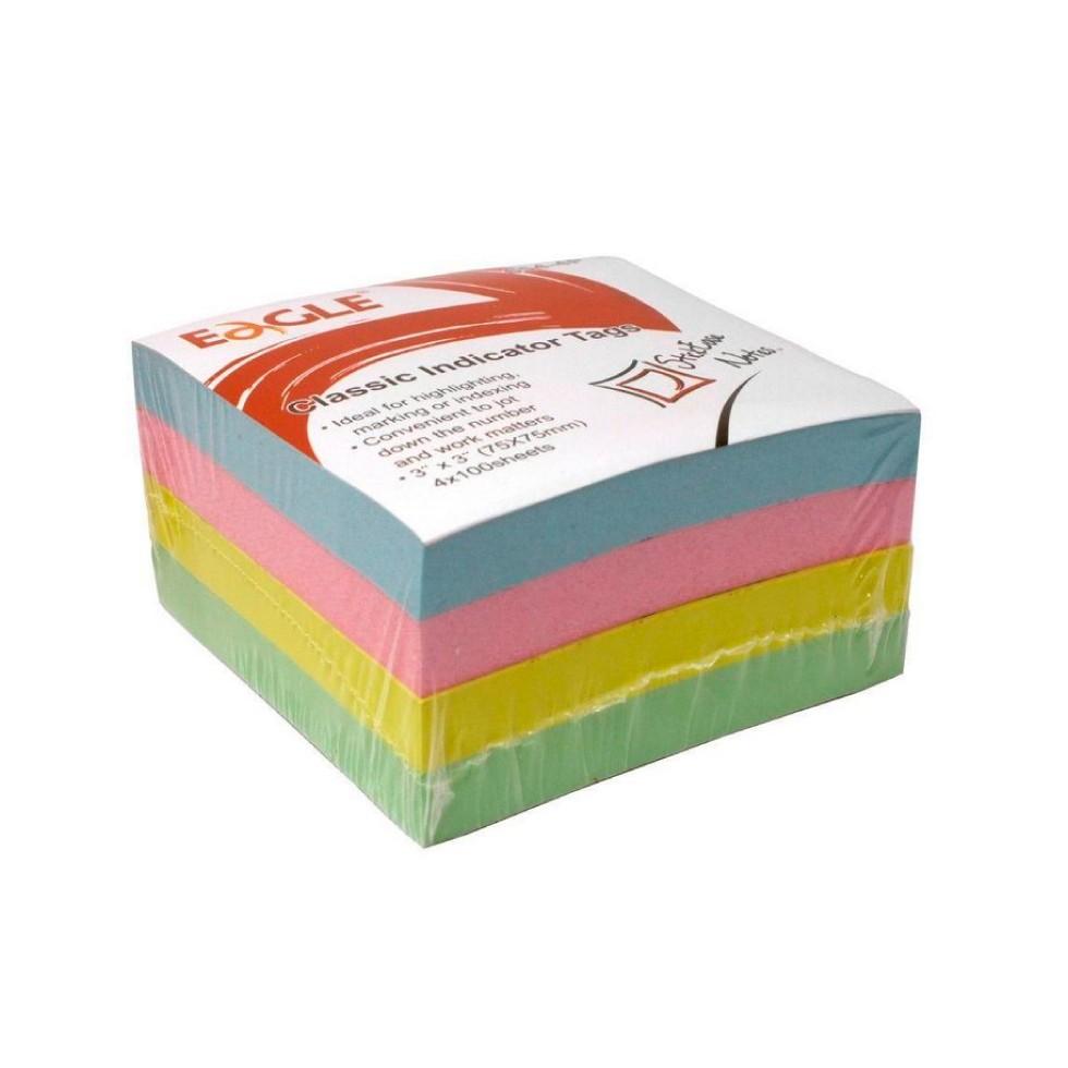 Bloco Adesivo com 4 cores Pastel - 100 folhas por cor