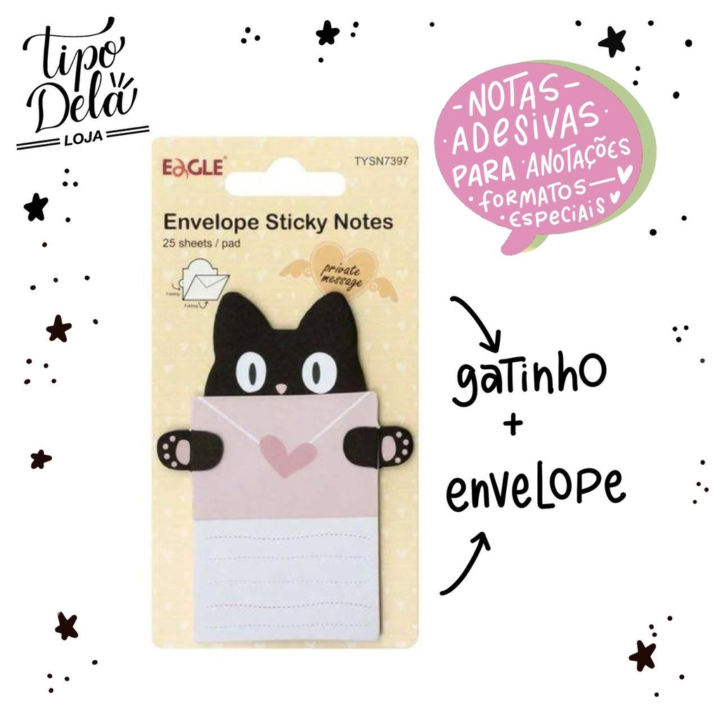 Bloco Adesivo Envelope Gato - 25 folhas