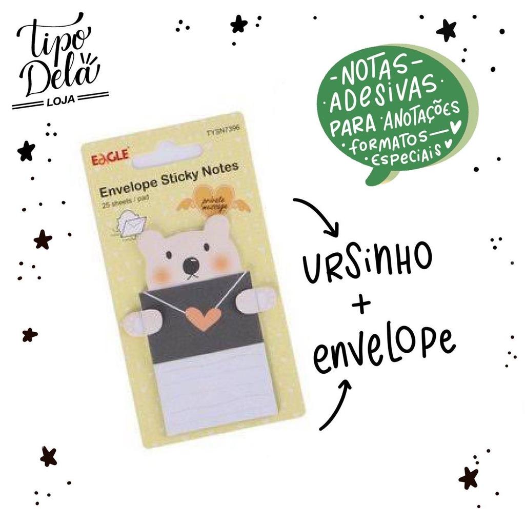 Bloco Adesivo Envelope Urso - 25 folhas