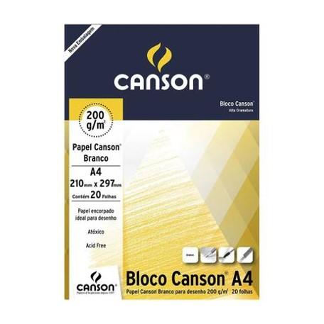 Bloco Canson A4 Branco  - 200g/m²,  25 folhas