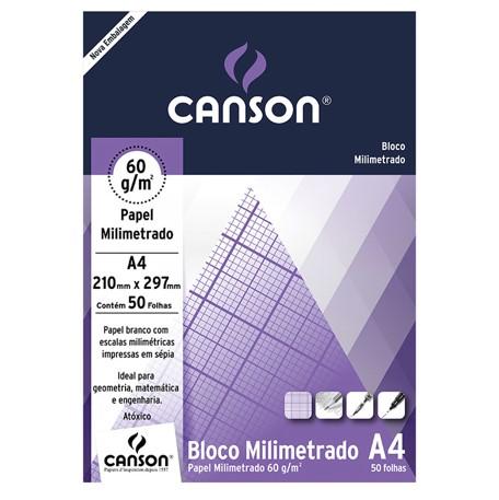 Bloco Canson A4 Milimetrado - 60g/m², 50 folhas