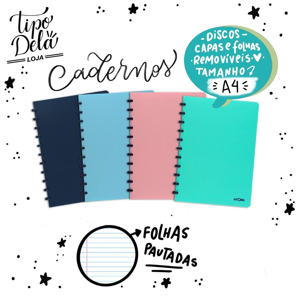 Caderno Personalizável Atoma Pastel Plus A4, 60 Folhas Pautadas