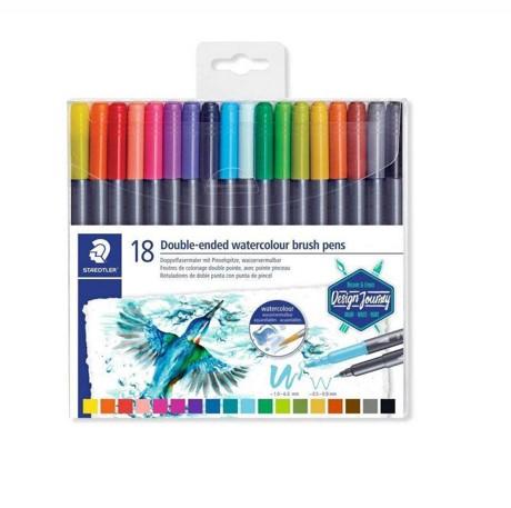 Caneta Aquarelável Staedtler Ponta Dupla - Estojo com 18 cores, ponta brush + ponta fina