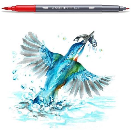 Caneta Aquarelável Staedtler Ponta Dupla - Estojo com 36 cores, ponta brush + ponta fina