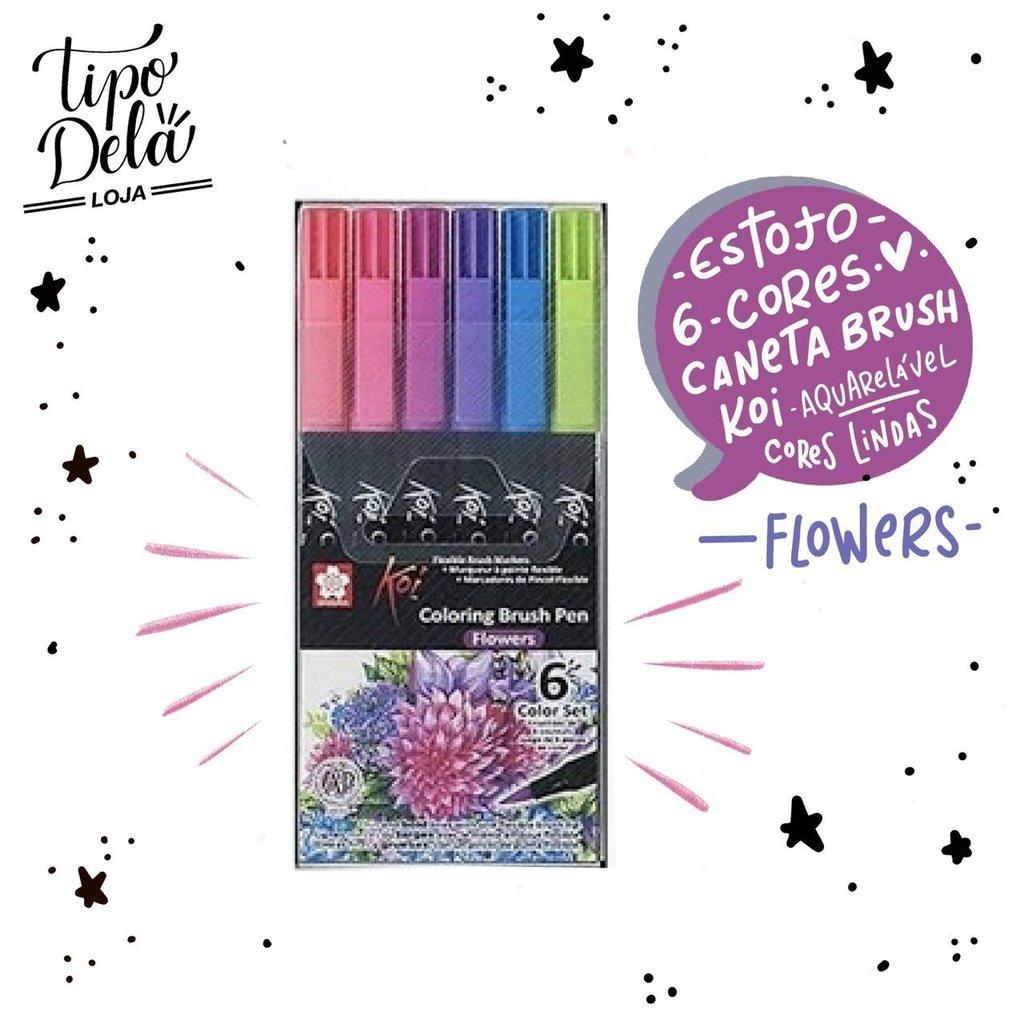 Caneta Brush KOI Aquarelável - Estojo com 6 cores flowers