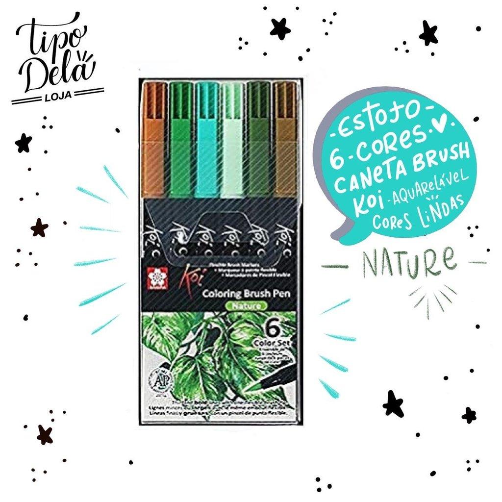 Caneta Brush KOI Aquarelável - Estojo com 6 cores nature