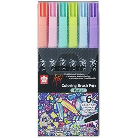 Caneta Brush KOI Aquarelável - Estojo com 6 cores pastel