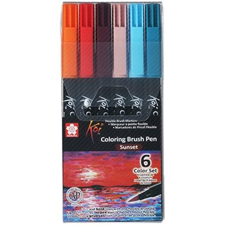 Caneta Brush KOI Aquarelável - Estojo com 6 cores sunset