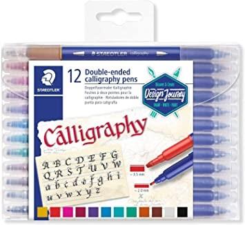 Caneta Calligraph Duo Staedtler com Ponta Dupla - 12 cores, Pontas chatas de 3.5mm e 2.0mm