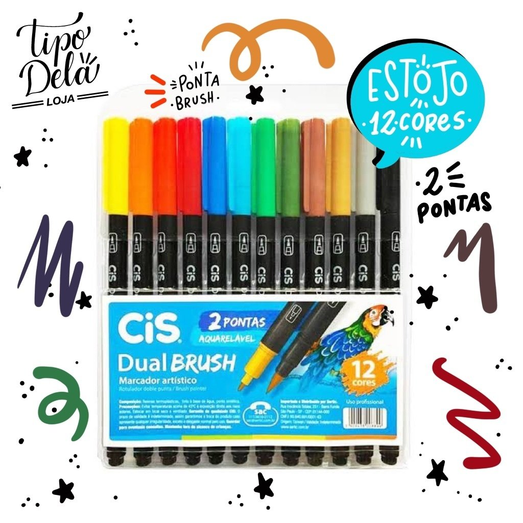 Caneta Dual Brush CIS - Estojo com 12 cores