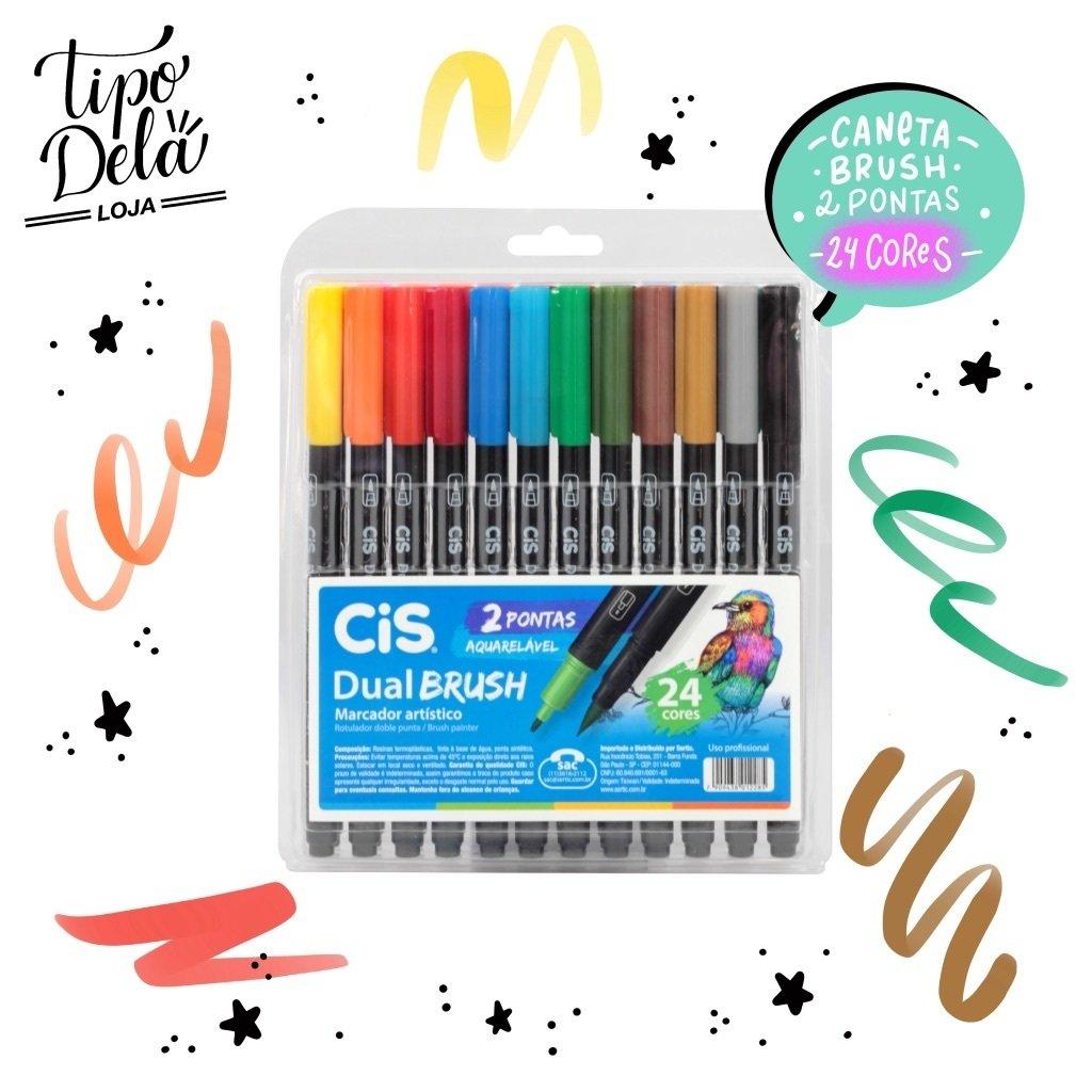 Caneta Dual Brush CIS - Estojo com 24 cores