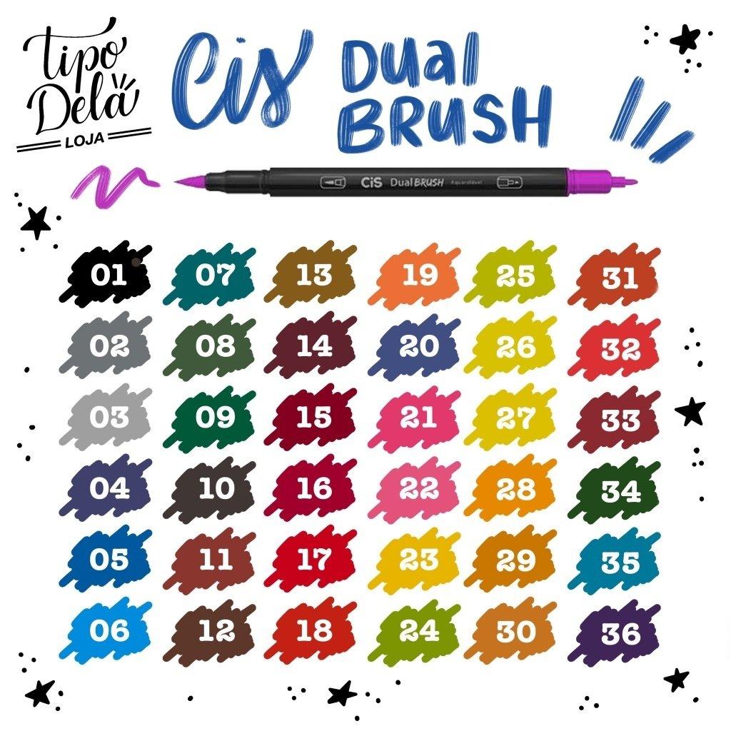 Caneta Dual Brush CIS - Estojo com 6 cores Básicas