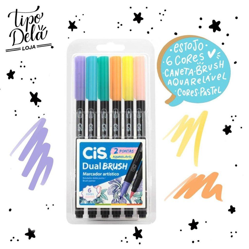 Caneta Dual Brush CIS - Estojo com 6 cores Pastel