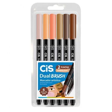Caneta Dual Brush CIS - Estojo com 6 cores Tons de Pele