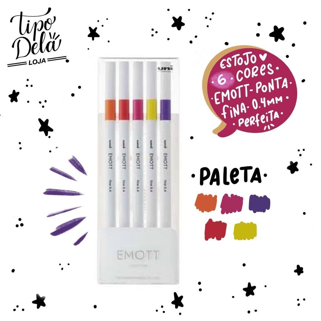 Caneta Emott Fine 0.4 Passion Colors - Estojo com 5 cores