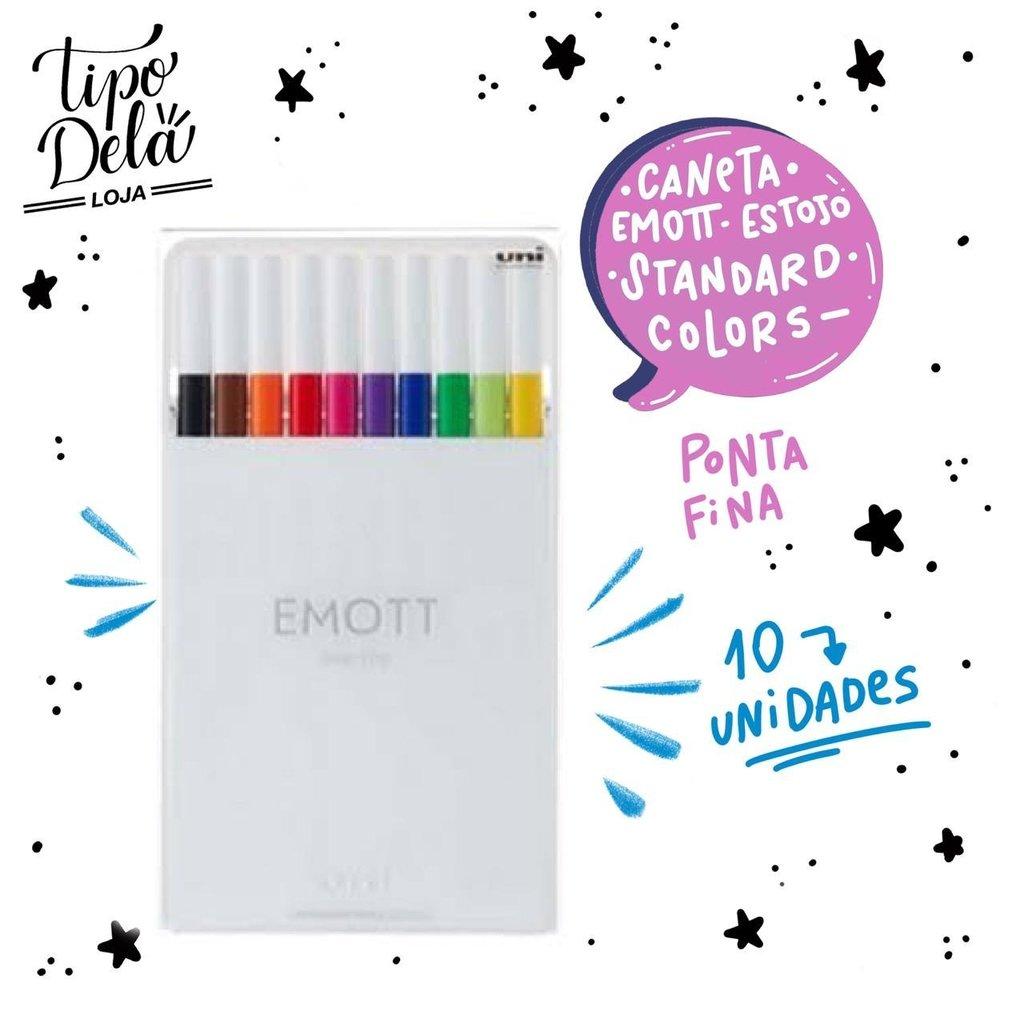 Caneta Emott Fine 0.4 Standard Colors - Estojo com 10 cores
