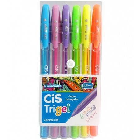 Caneta Gel Cis Trigel 0.8mm- Estojo com 6 cores pastel