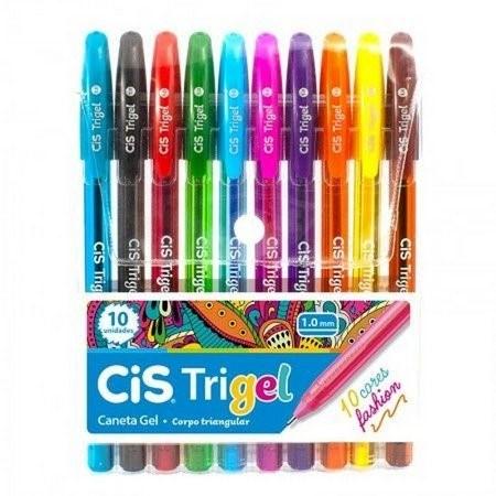 Caneta Gel Cis Trigel 1.0mm - Estojo com 10 cores fashion