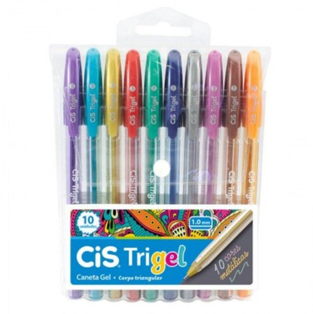 Caneta Gel Cis Trigel 1.0mm - Estojo com 10 cores metálicas