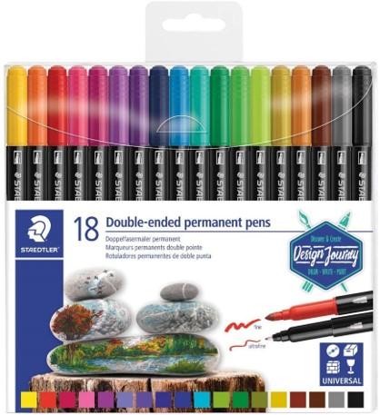 Caneta Permanente Staedtler Ponta Dupla - Estojo com 18 cores, ponta grossa + fineliner