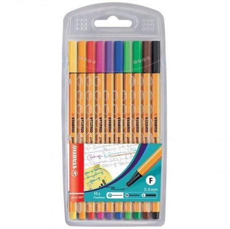 Caneta Stabilo Fineliner 0,4mm - Estojo com 10 cores