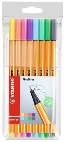 Caneta Stabilo Fineliner Pastel 0,4mm - Estojo com 8 cores
