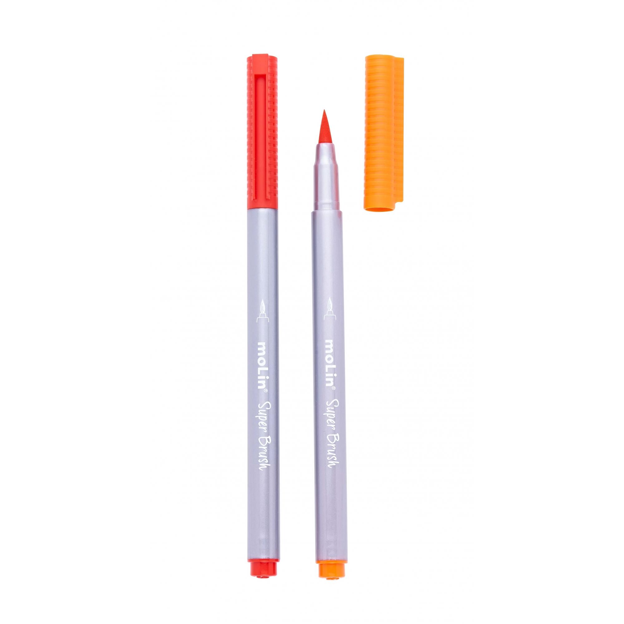 Caneta Super Brush Molin - Estojo com 12 cores, ponta pincel