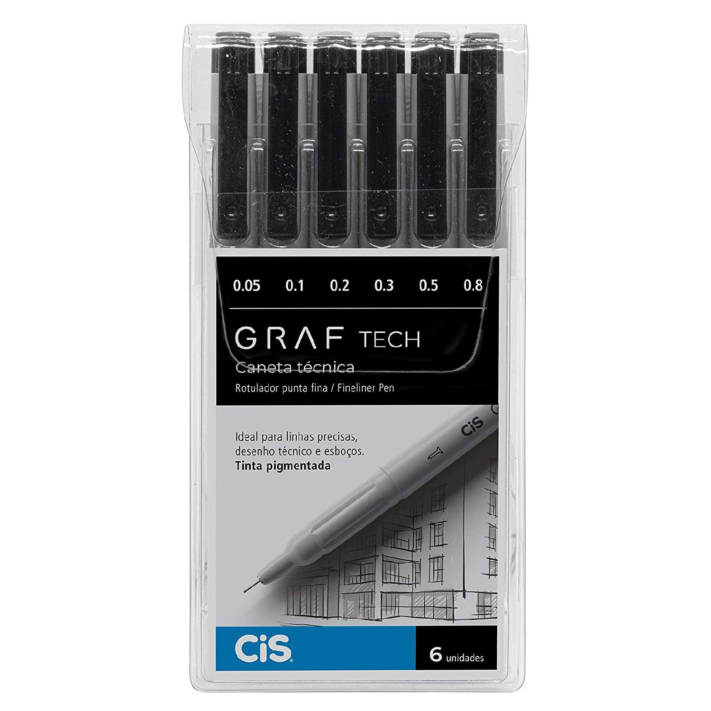 Caneta Técnica CIS Graf Tech - Estojo com 6 canetas ponta fina