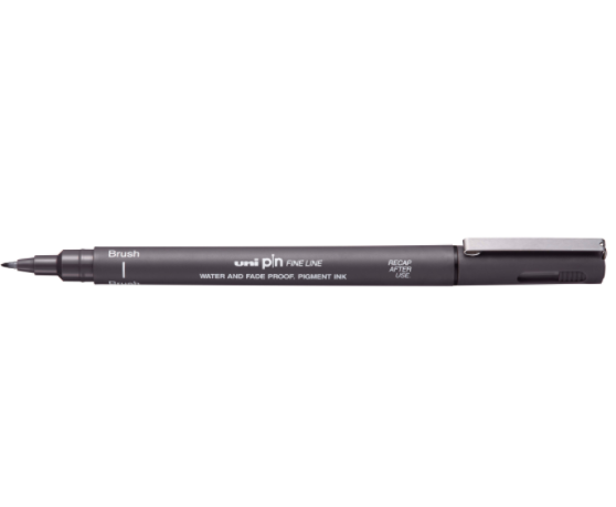 Caneta UniPin 0,1mm - Brush, Cinza Escuro