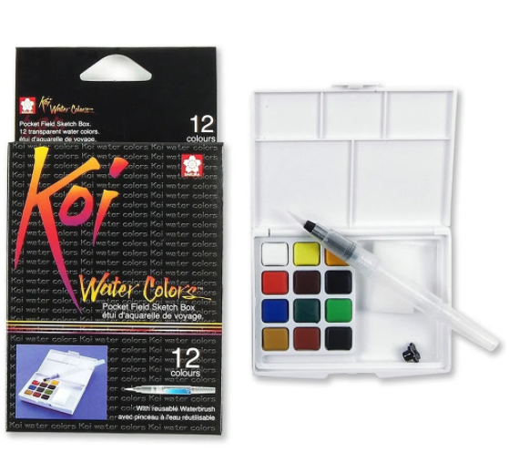 Estojo de Aquarela KOI Watercolors - 12 cores