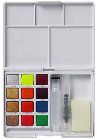 Estojo de Aquarela KOI Watercolors - 12 cores Metálicas