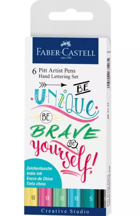 Estojo para Lettering Pastel Faber Castell - 4 pontas brush e 2 fineliner