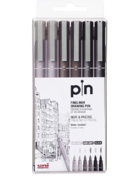 Estojo UniPin 0,1mm e 0,5mm - Cinza Claro, Cinza Escuro e Preto - 6 canetas