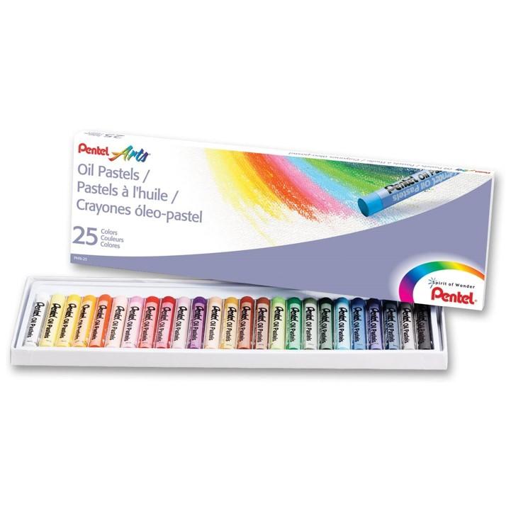 Giz Pastel Oleoso Pentel - Estojo com 25 cores