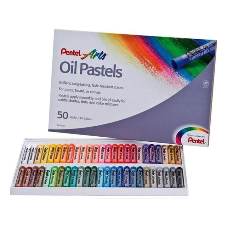 Giz Pastel Oleoso Pentel - Estojo com 50 cores