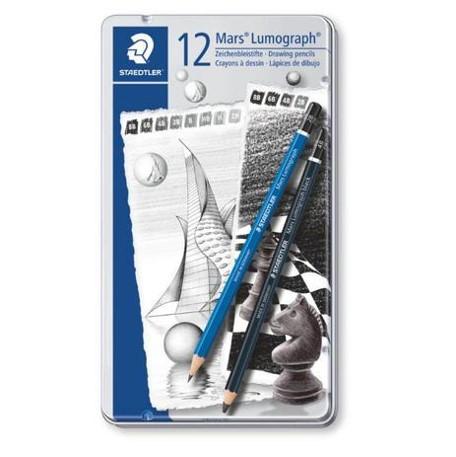 Kit de Lápis para Desenho Lumograph - Estojo de Lata com 12 lápis