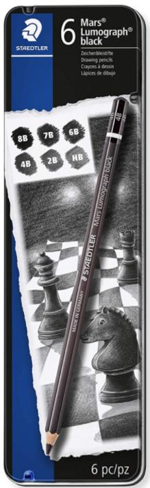 Kit de Lápis para Desenho Lumograph - Estojo de Lata com 6 lápis
