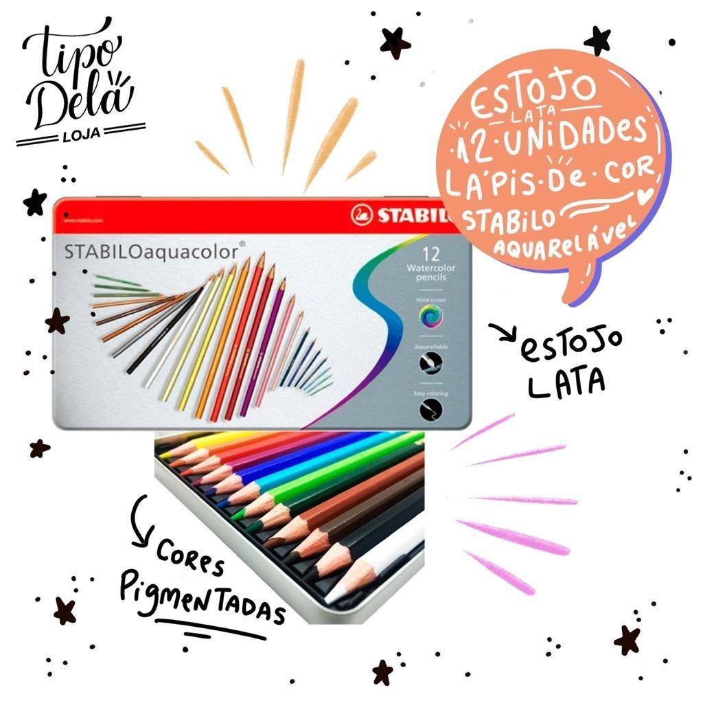 Lápis de Cor Aquarelável Stabilo - Lata 12 cores