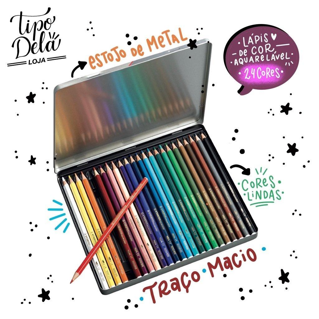 Lápis de Cor Aquarelável Stabilo - Lata 24 cores