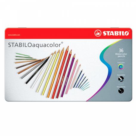 Lápis de Cor Aquarelável Stabilo - Lata 36 cores