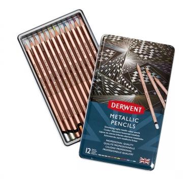 Lápis de Cor Metallic Derwent - Lata com 12 cores